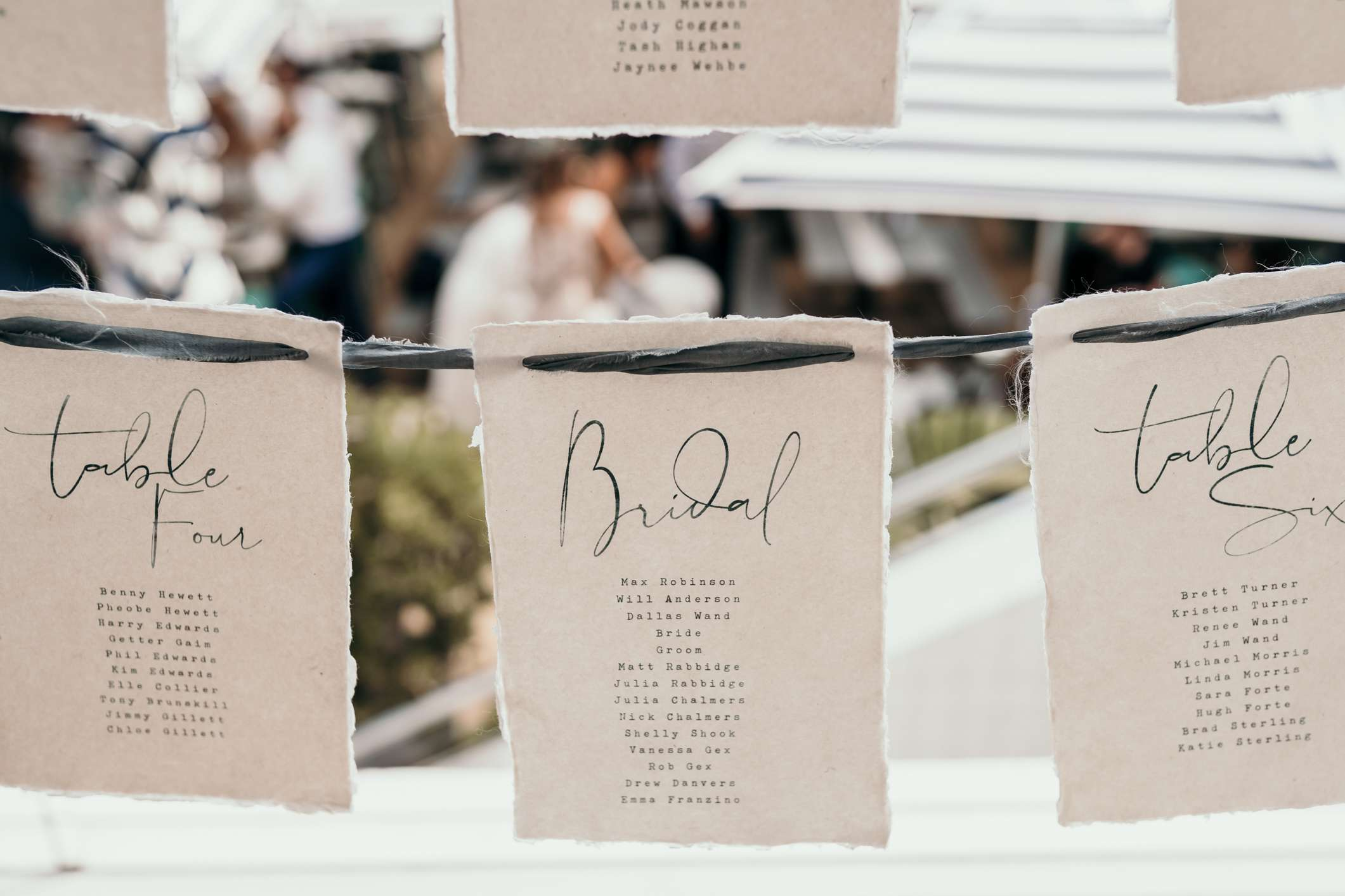 Table assignments at wedding
