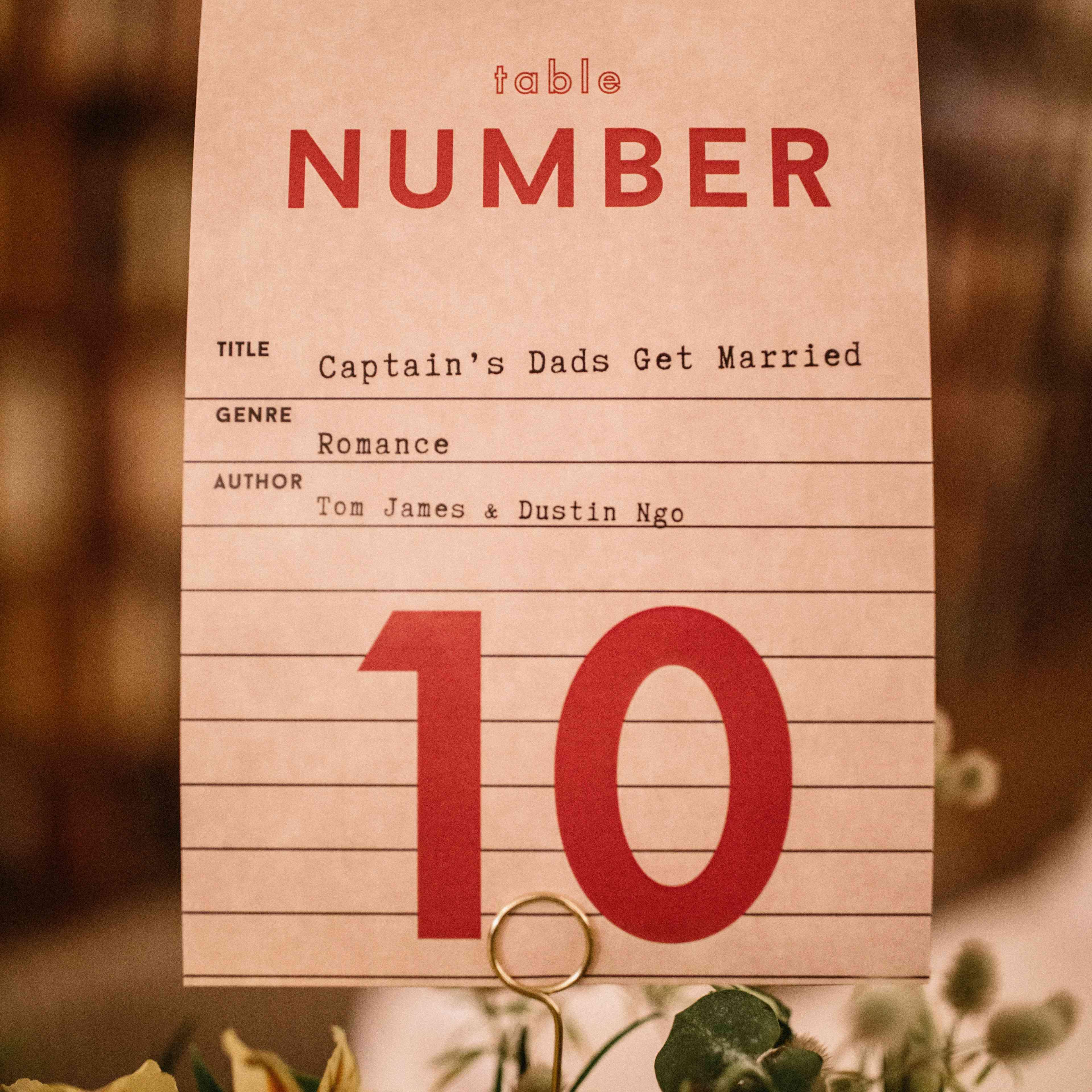 Book table number closeup