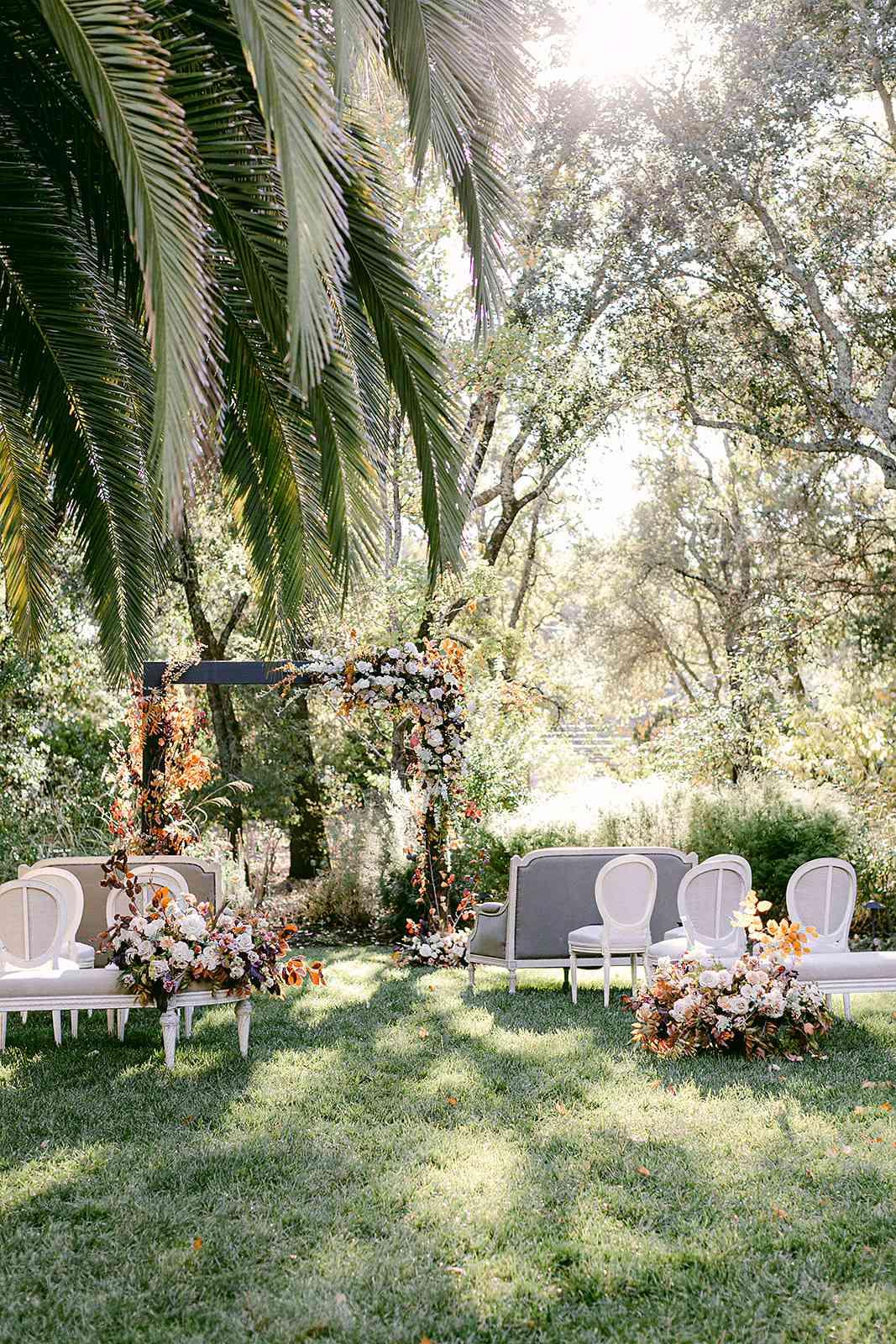 wedding ceremony decor with altar