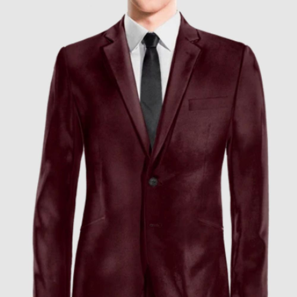 velvet burgundy suit