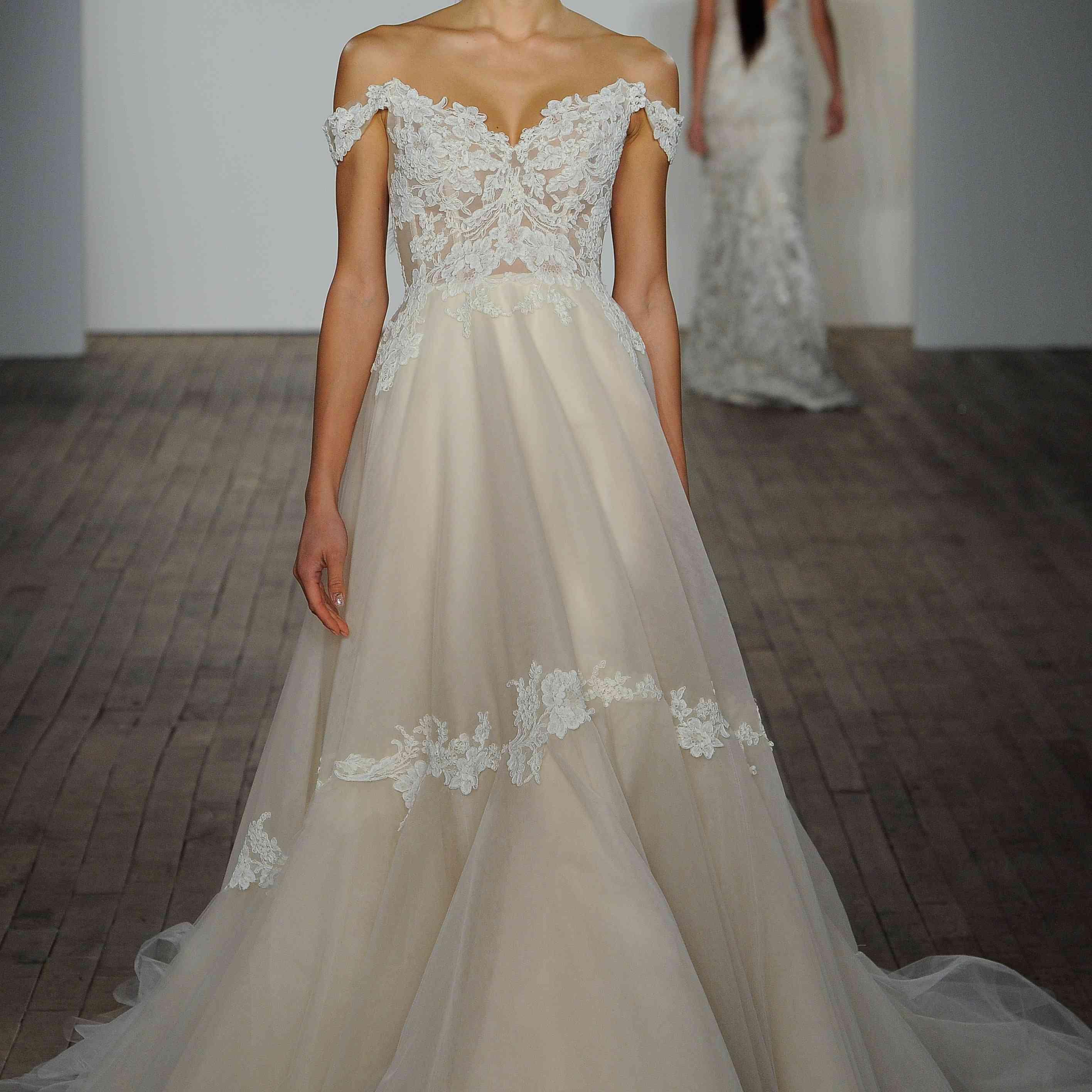 Jaden off-the-shoulder wedding dress lazaro