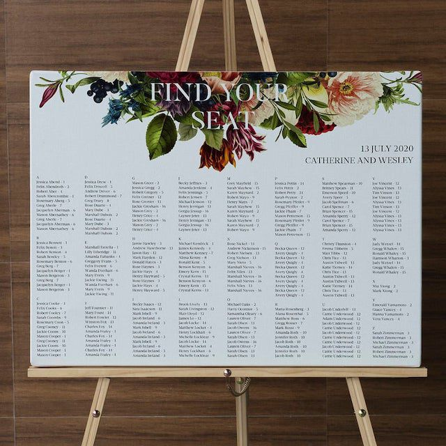 Moody Floral Wedding Seating Chart