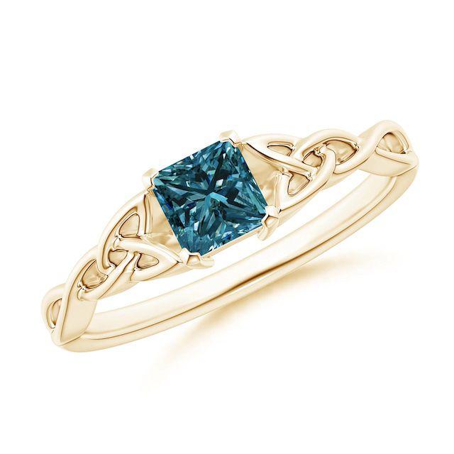 Angara Solitaire Princess-Cut Blue Diamond Celtic Knot Ring