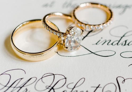 <p>Engagement Ring and Wedding Bands</p>