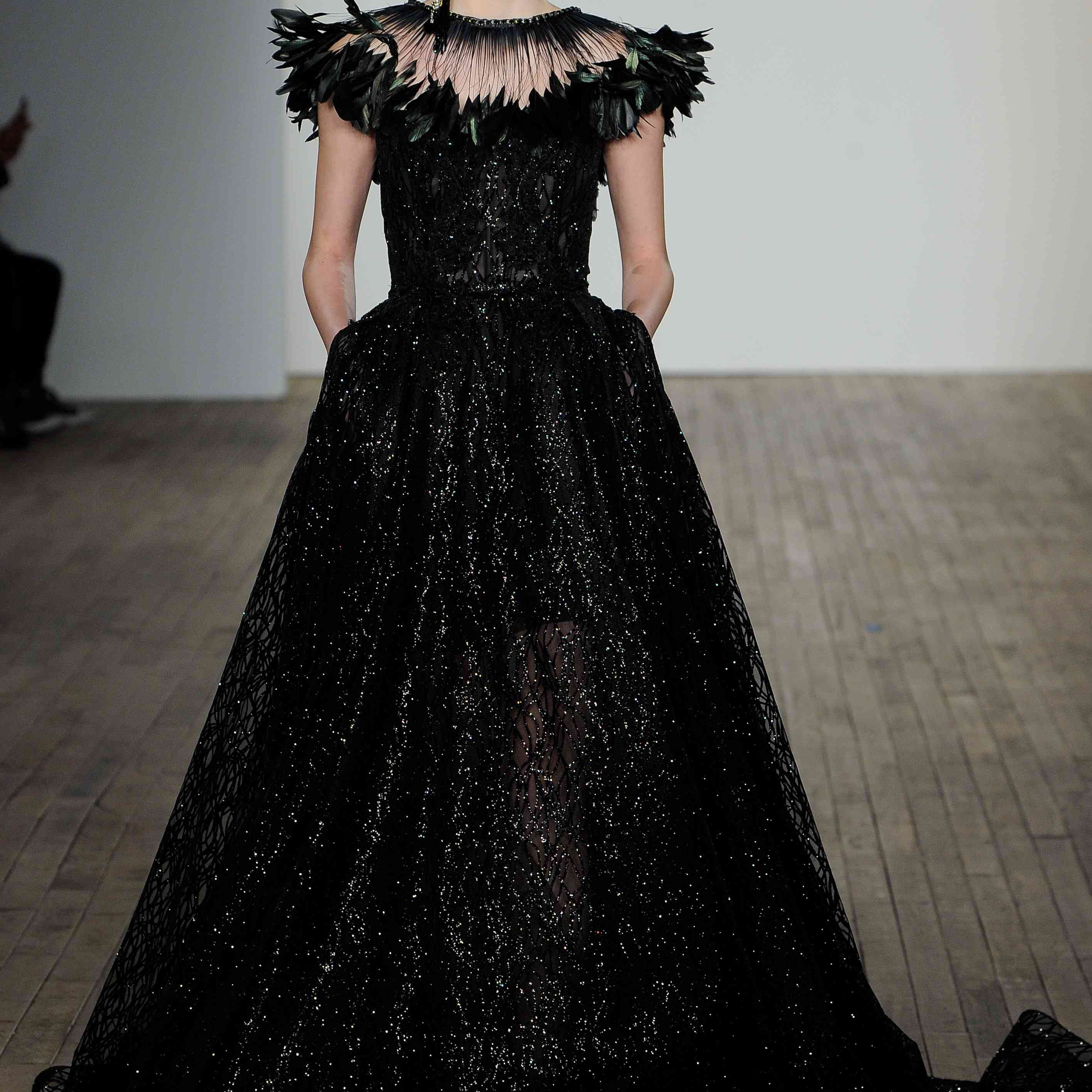Veronica black strapless wedding dress lazaro