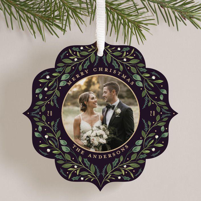Minted Greenery Ornament Card