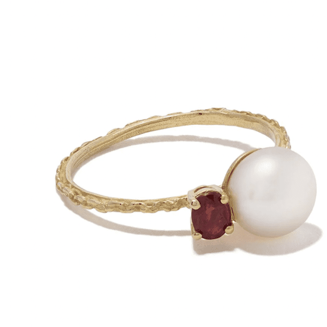 Pearl and ruby ring with gold band