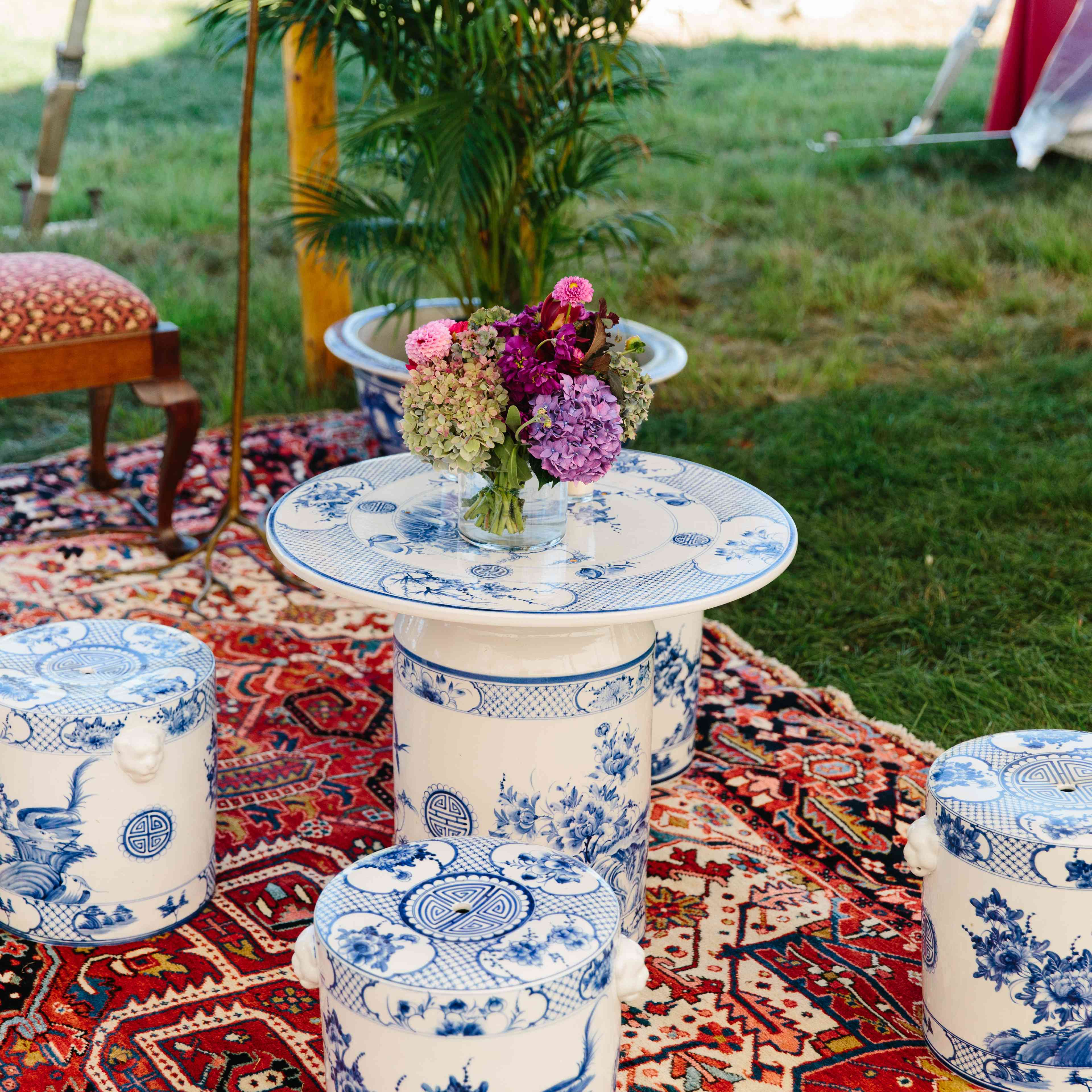 blue and white table and stool set