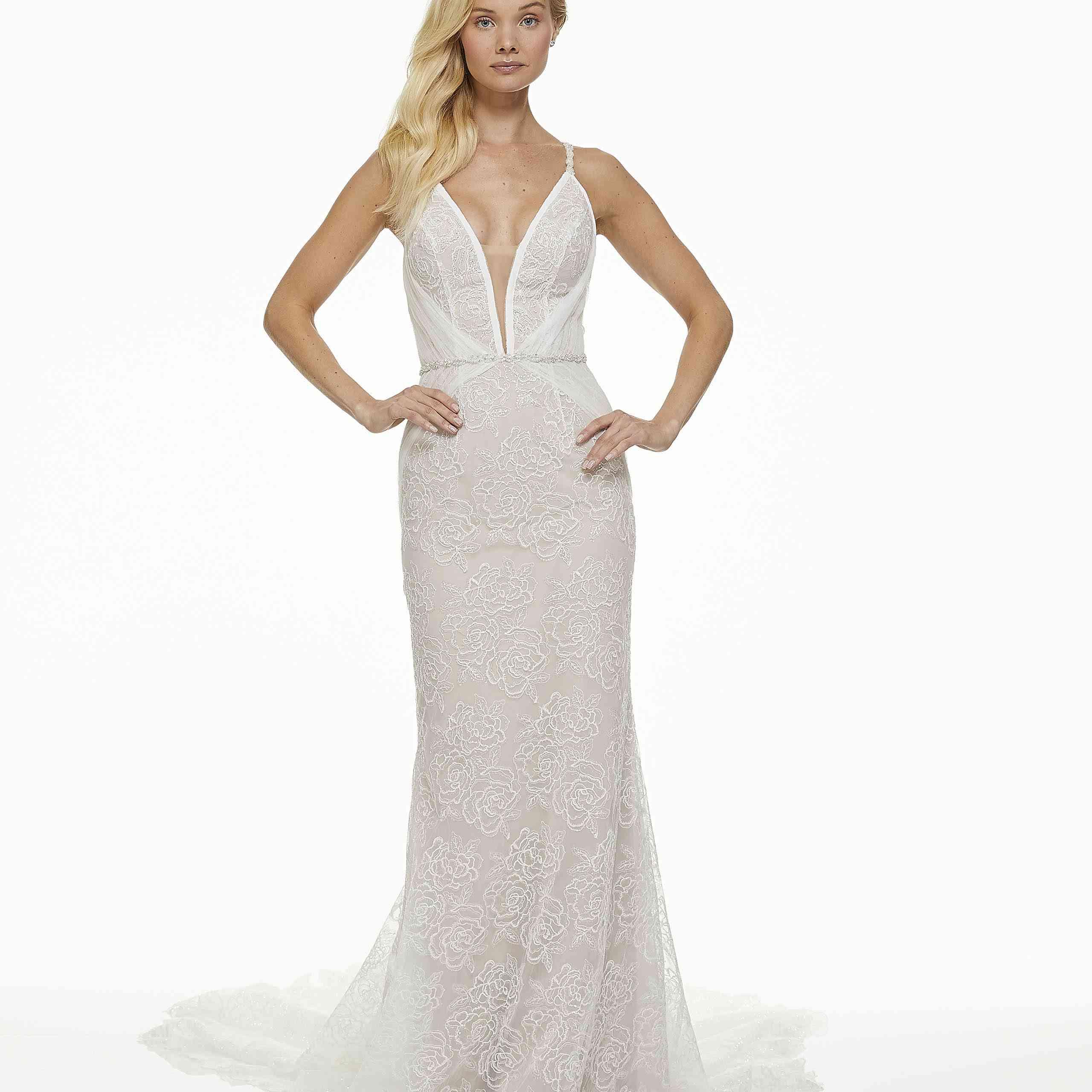 Model in plunging neckline wedding dress