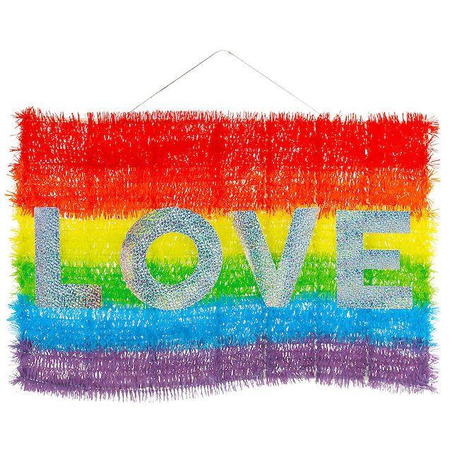 Party City Rainbow Flag Love Tinsel Sign