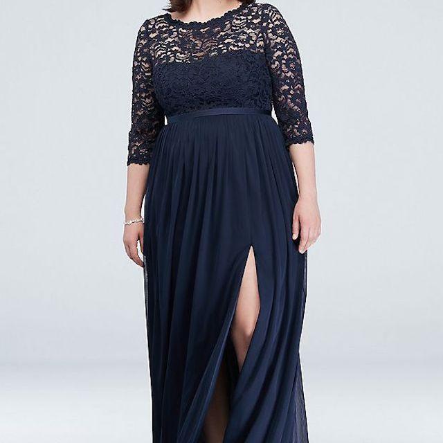 David's Bridal 3/4-Sleeve Illusion Lace and Mesh Bridesmaid Dress $174.95