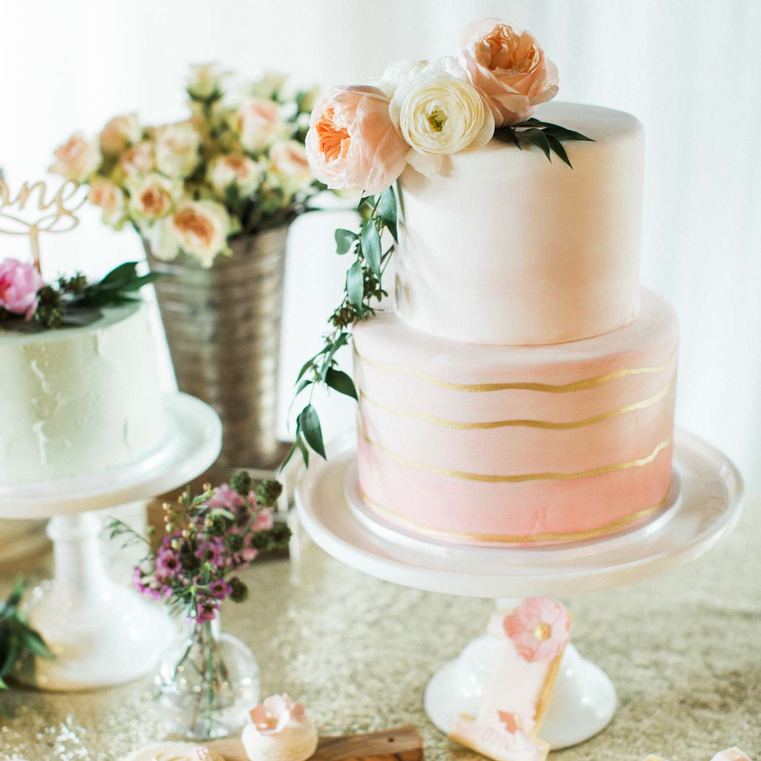 Two-Tiered Pink and Gold Wedding Cake