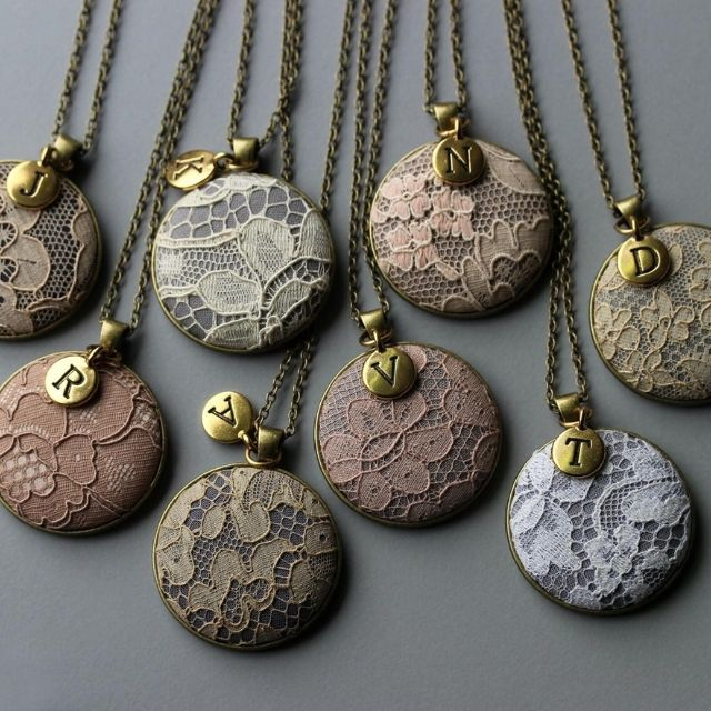 TheWhirlwind Vintage Lace Initial Necklace