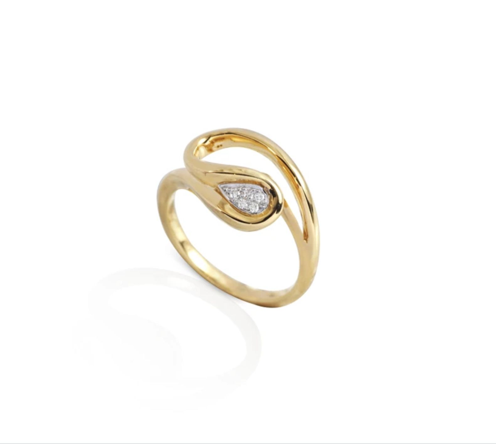 Diamond engagement ring with yellow gold band on a white background.