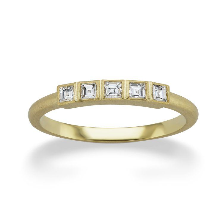Michelle Fantaci Gold Ring With Square Baguettes in Bezel Setting