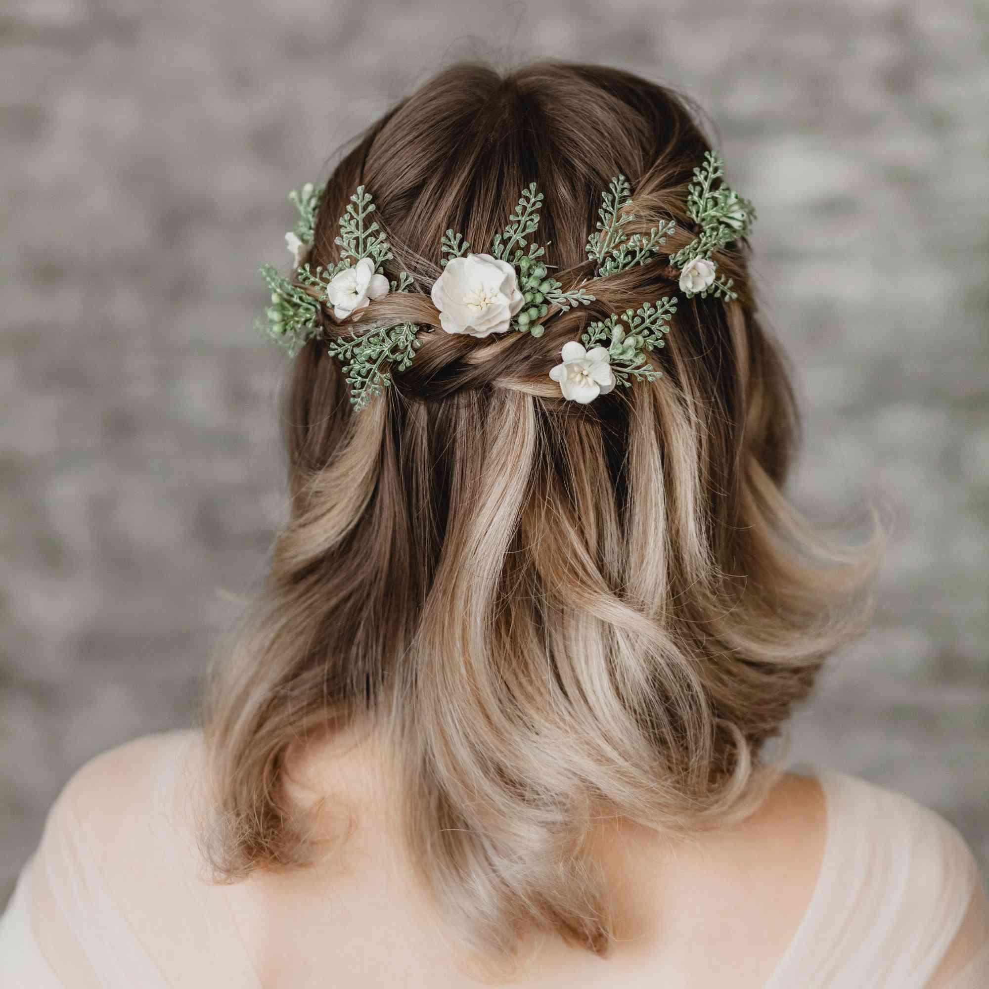 Bridal Off White Flower Faux Pearl Headpiece Wedding Hair Clip Fascinator