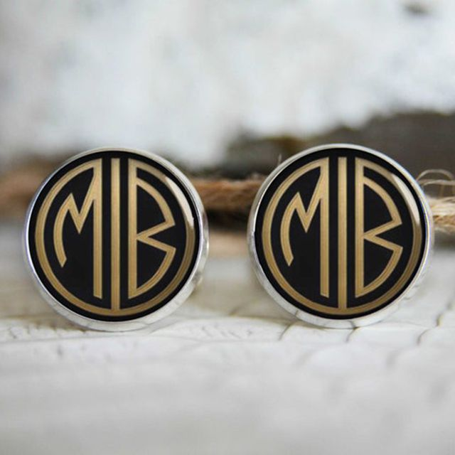 The Blue Agave Studio Gatsby Retro Monogrammed Personalized Cufflinks from Etsy