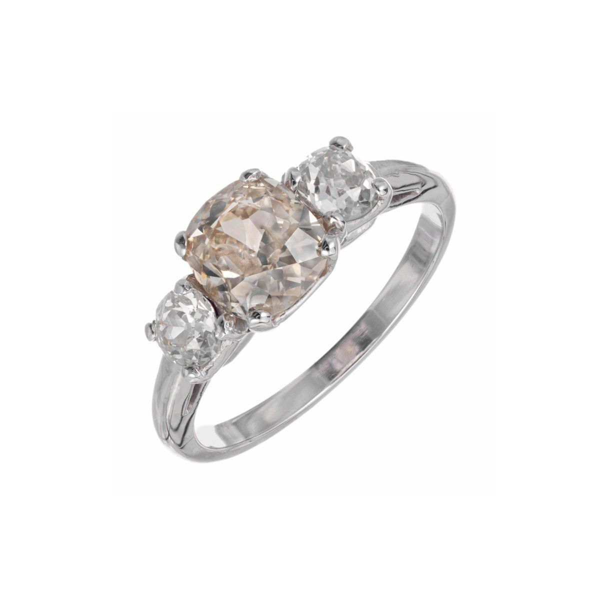 1stDibs GIA Certified 1.58 Carat Golden Brown Yellow Diamond Platinum Engagement Ring
