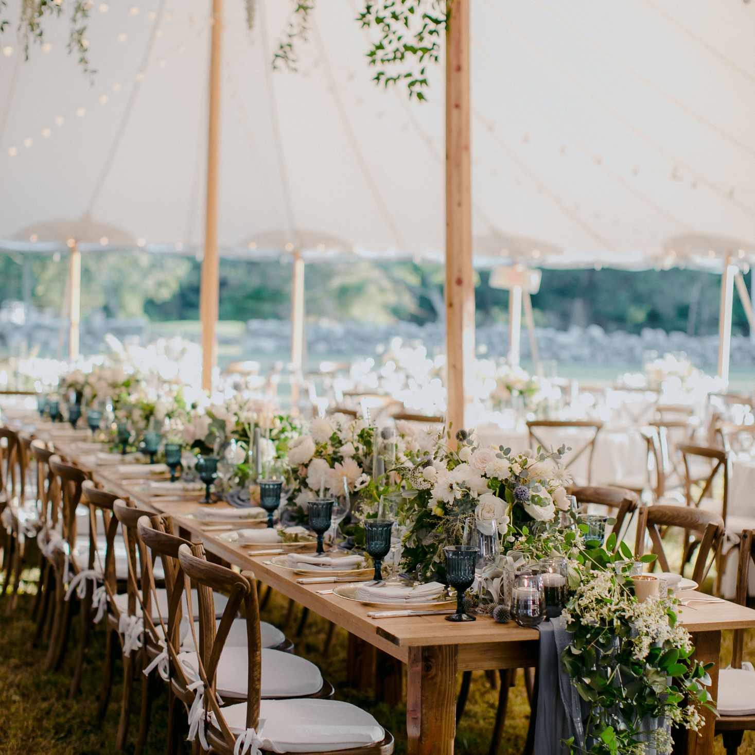 at-home rustic massachusetts wedding, flower-filled reception tables