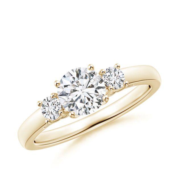 Angara Round Diamond Three Stone Engagement Ring