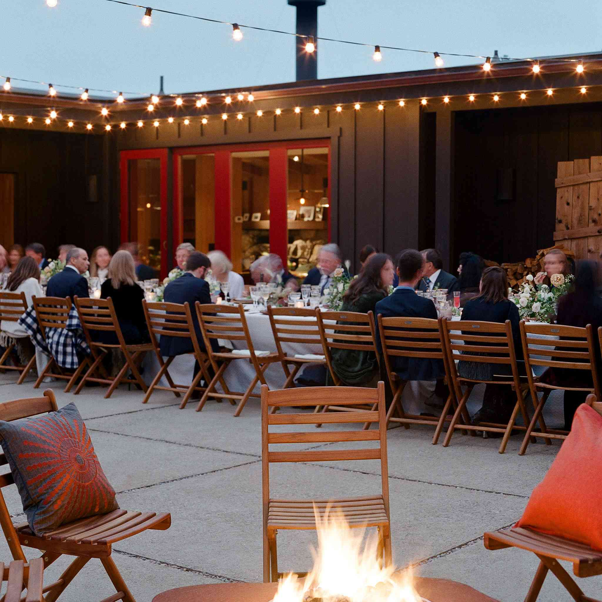 Fire pit at outdoor wedding reception