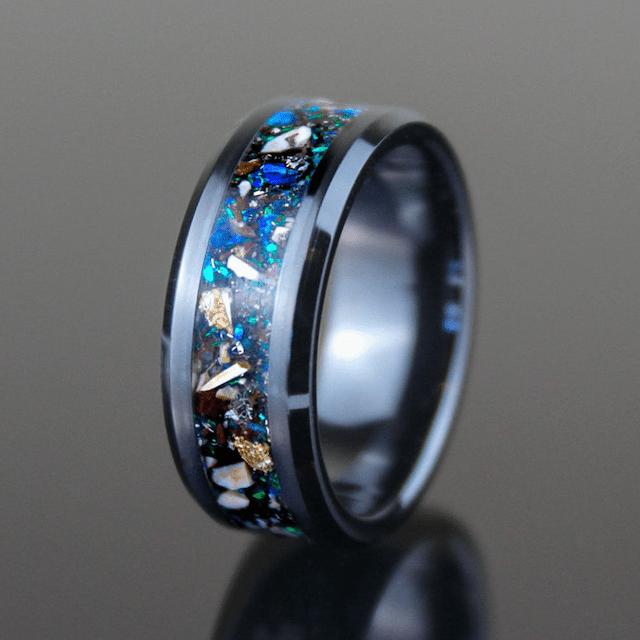Glowstone Ring Wedding Band Meteor Ring Meteorite Ring Glow in the Dark Ring Women\u2019s Band Engagement Ring Men\u2019s Band