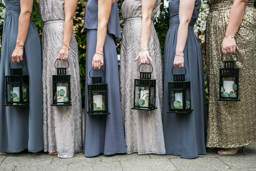 bridal party carrying lanterns