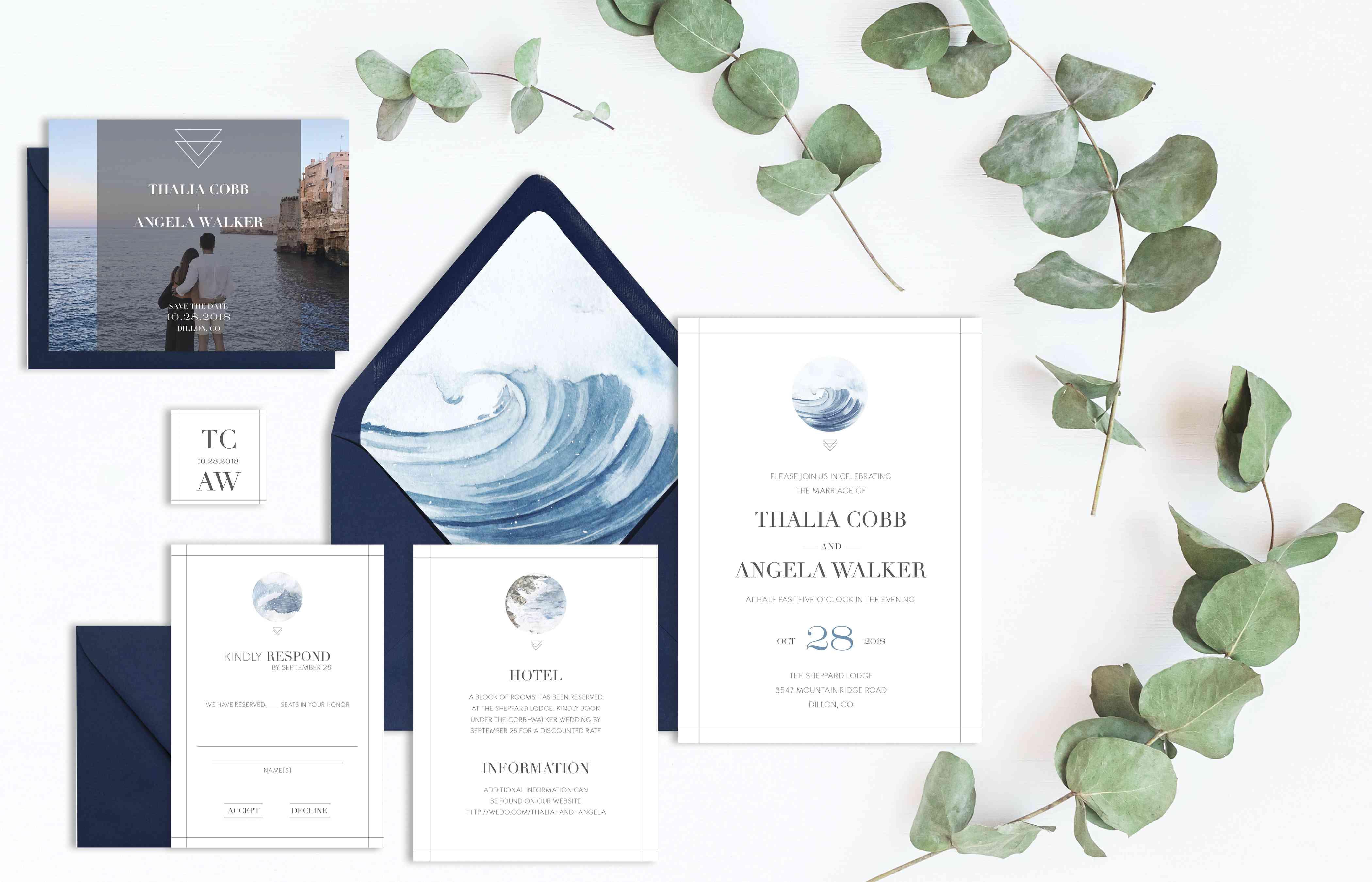Blue wave wedding invitation suite