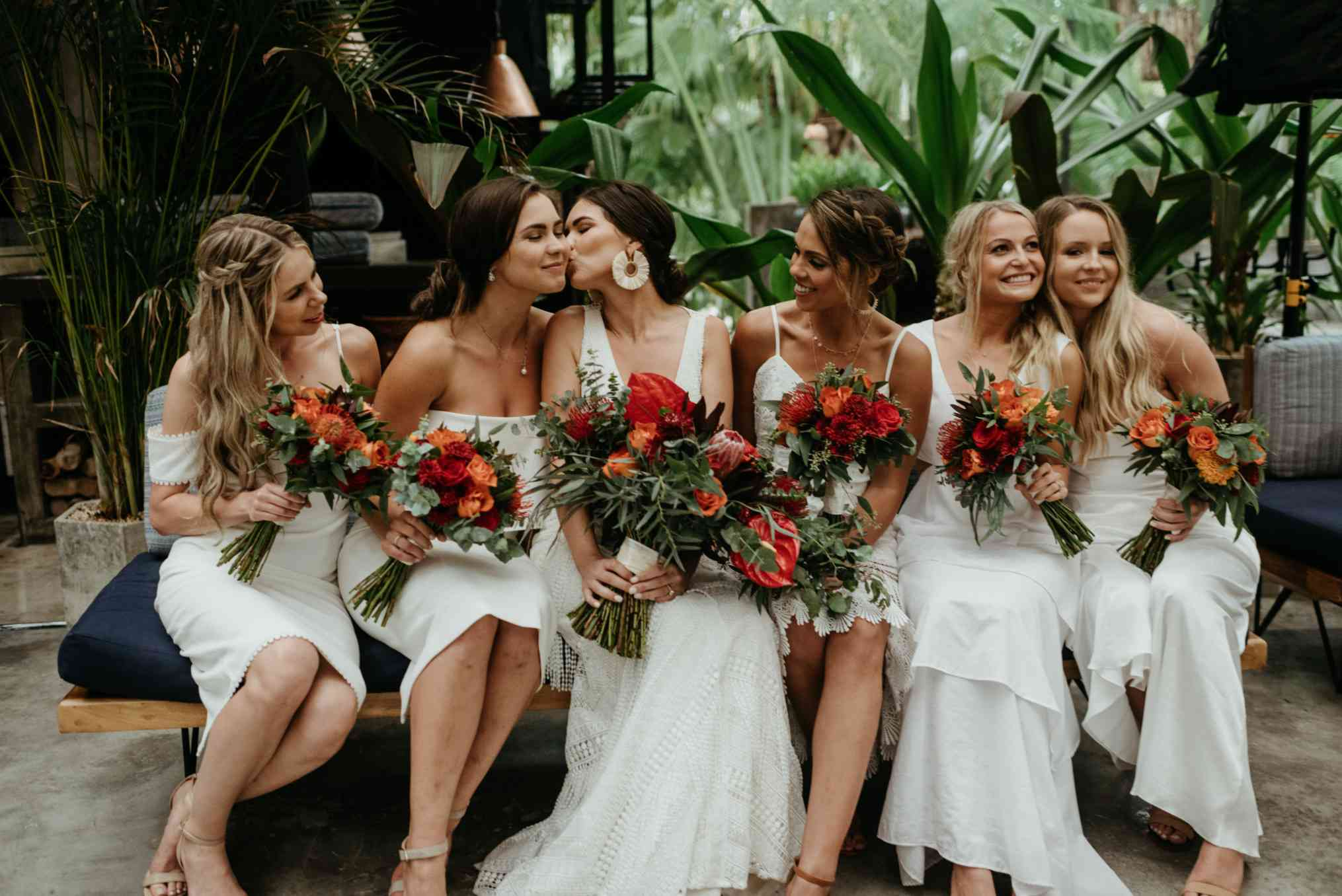 Bride with bridesmaids in beachy looks