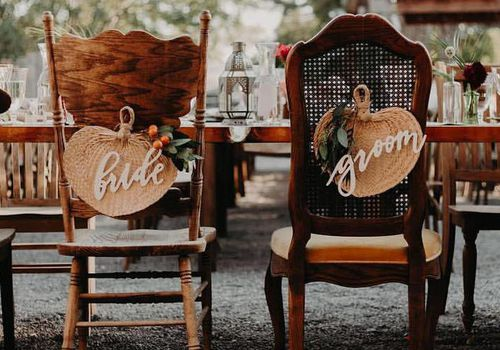 Back of wedding chairs with Bride Groom signs