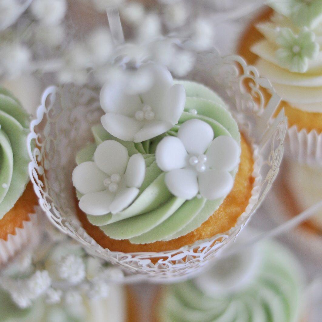 sage green cupcakes