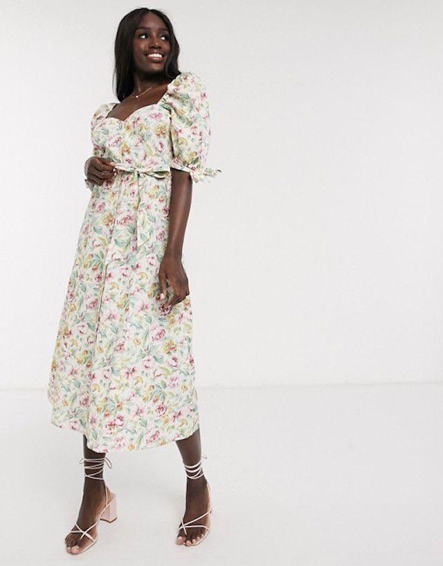 ASOS DESIGN Cotton Poplin Puff Sleeve Midi Skater Dress $38.55 (originally $67)