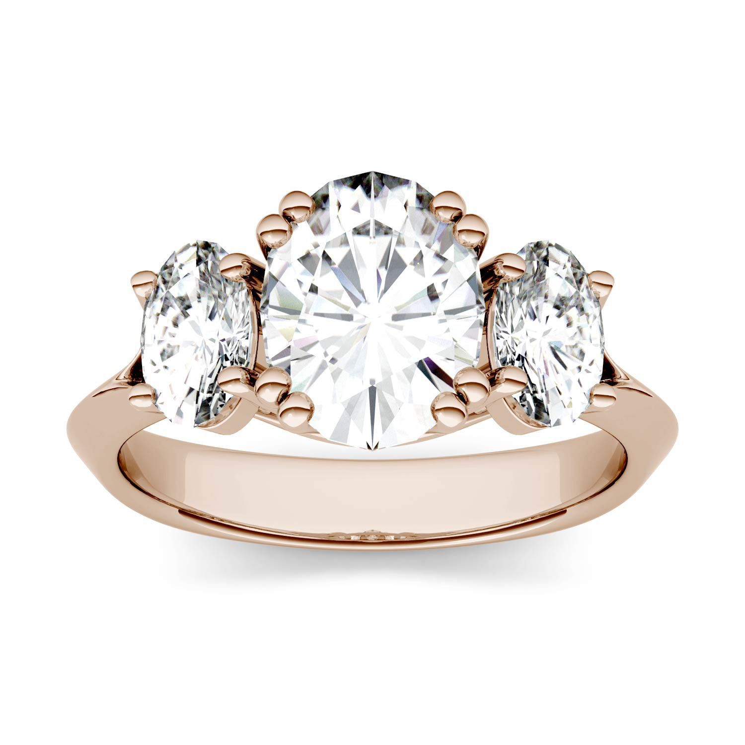 Charles & Colvard Forever One 3.10CTW Oval Colorless Moissanite Three Stone Engagement Ring in 14K Rose Gold