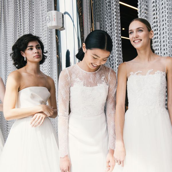 Models in bridal gowns