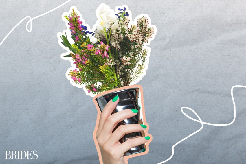 Photo composite of a hand with painted green nails holding a cup of fresh cut wild flowers