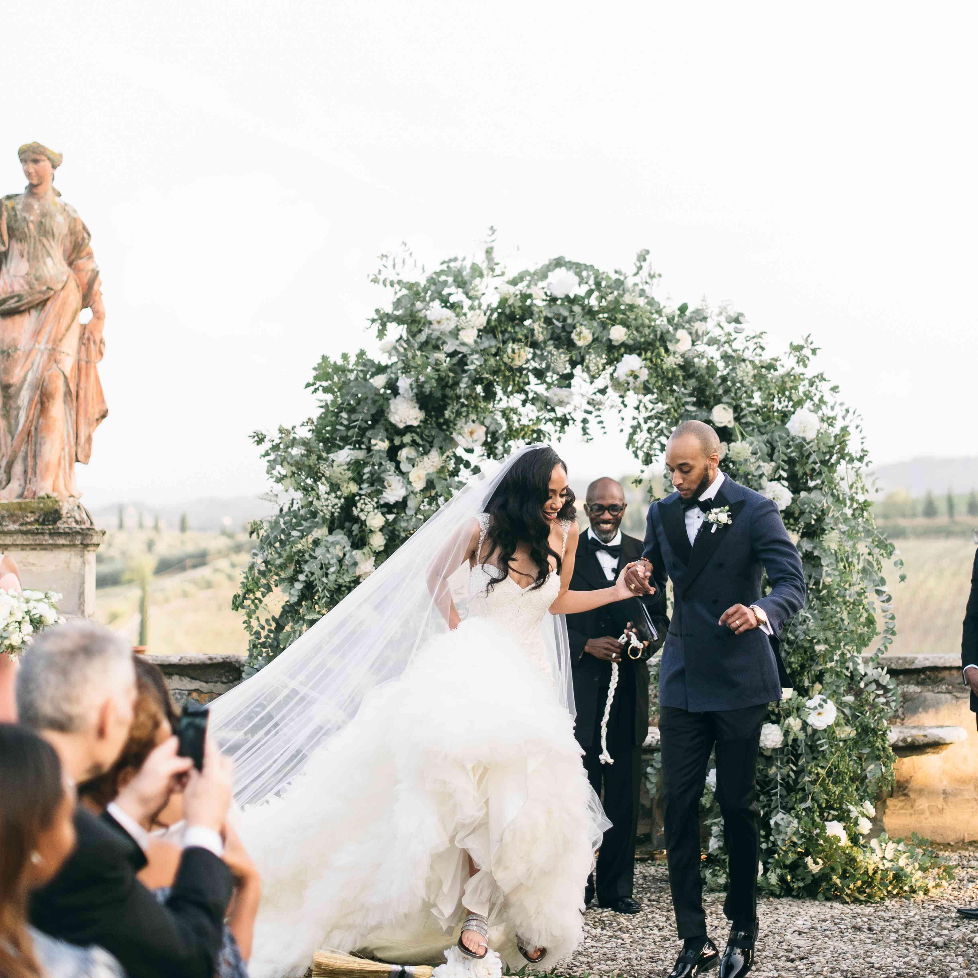 Couple leaving wedding ceremony