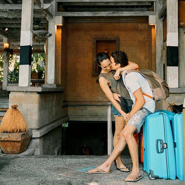 couple with luggage