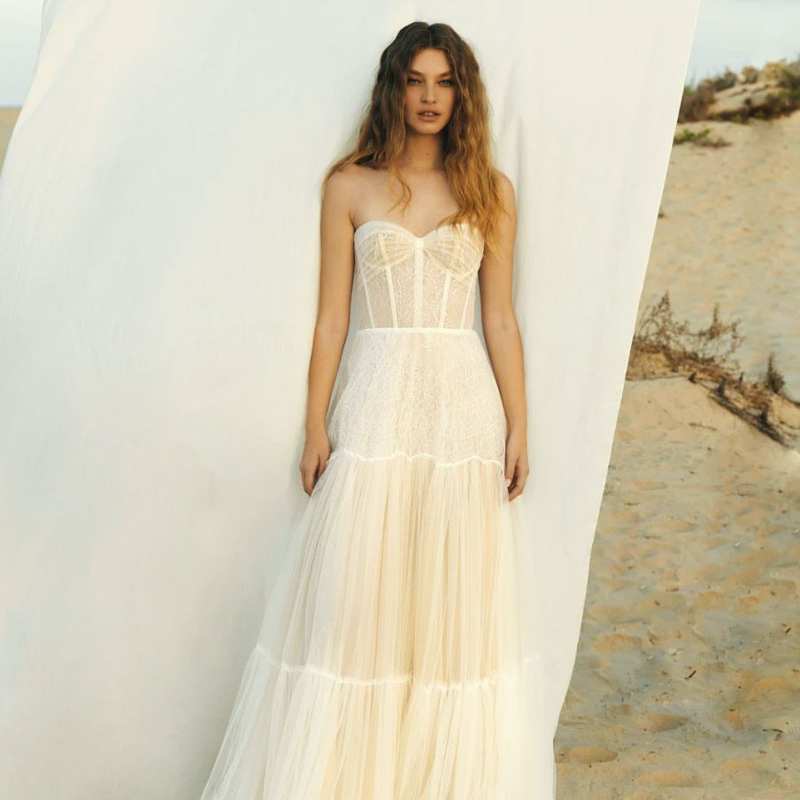 strapless tulle and lace gown