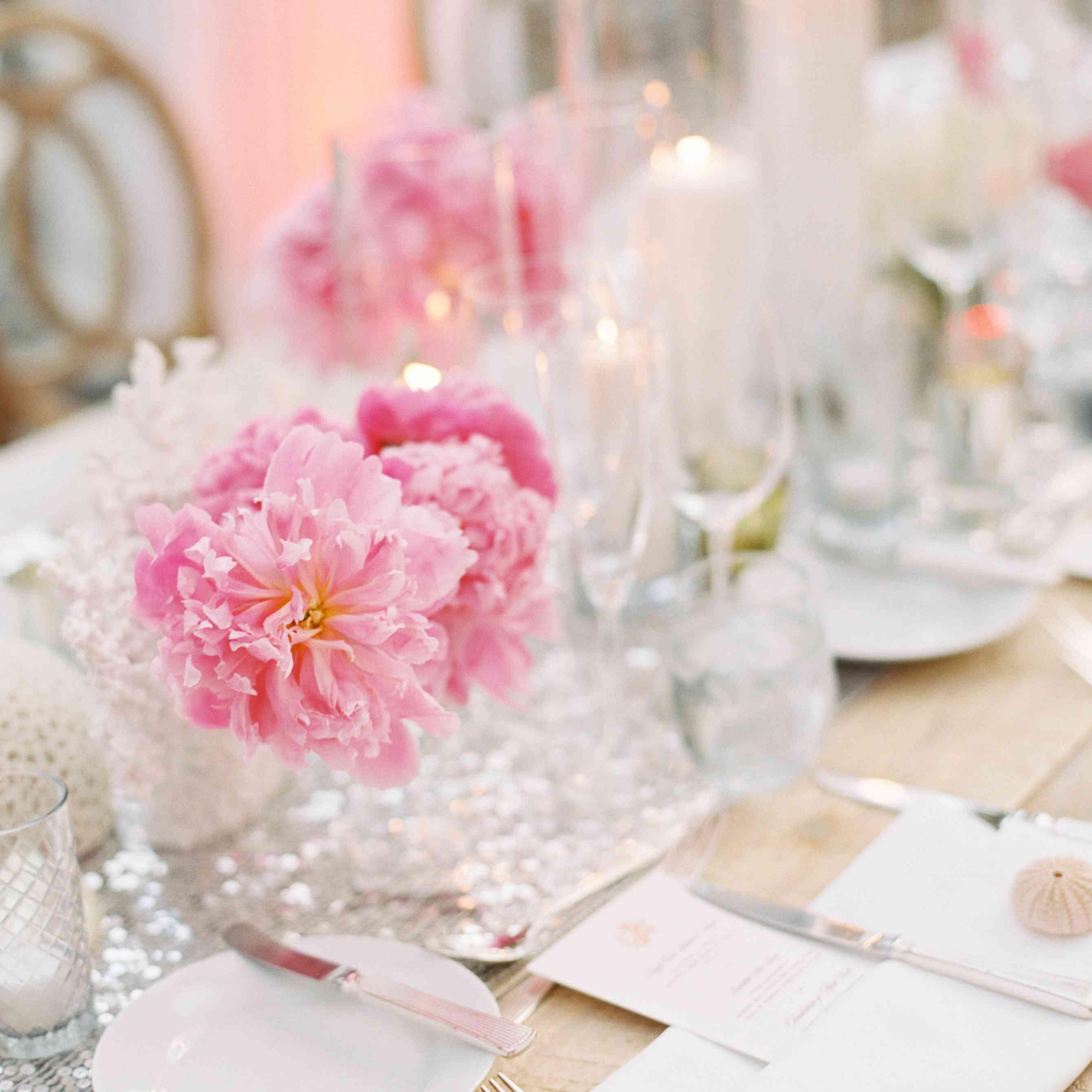 Pink Peony Centerpieces