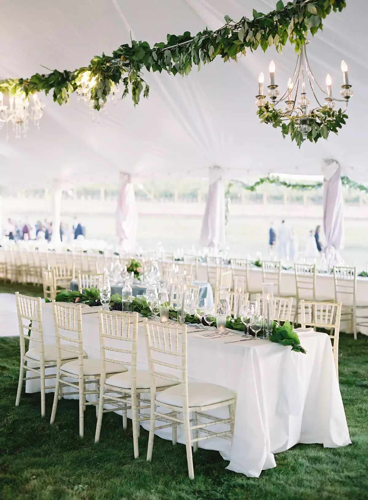 chandelier with garland of greenery
