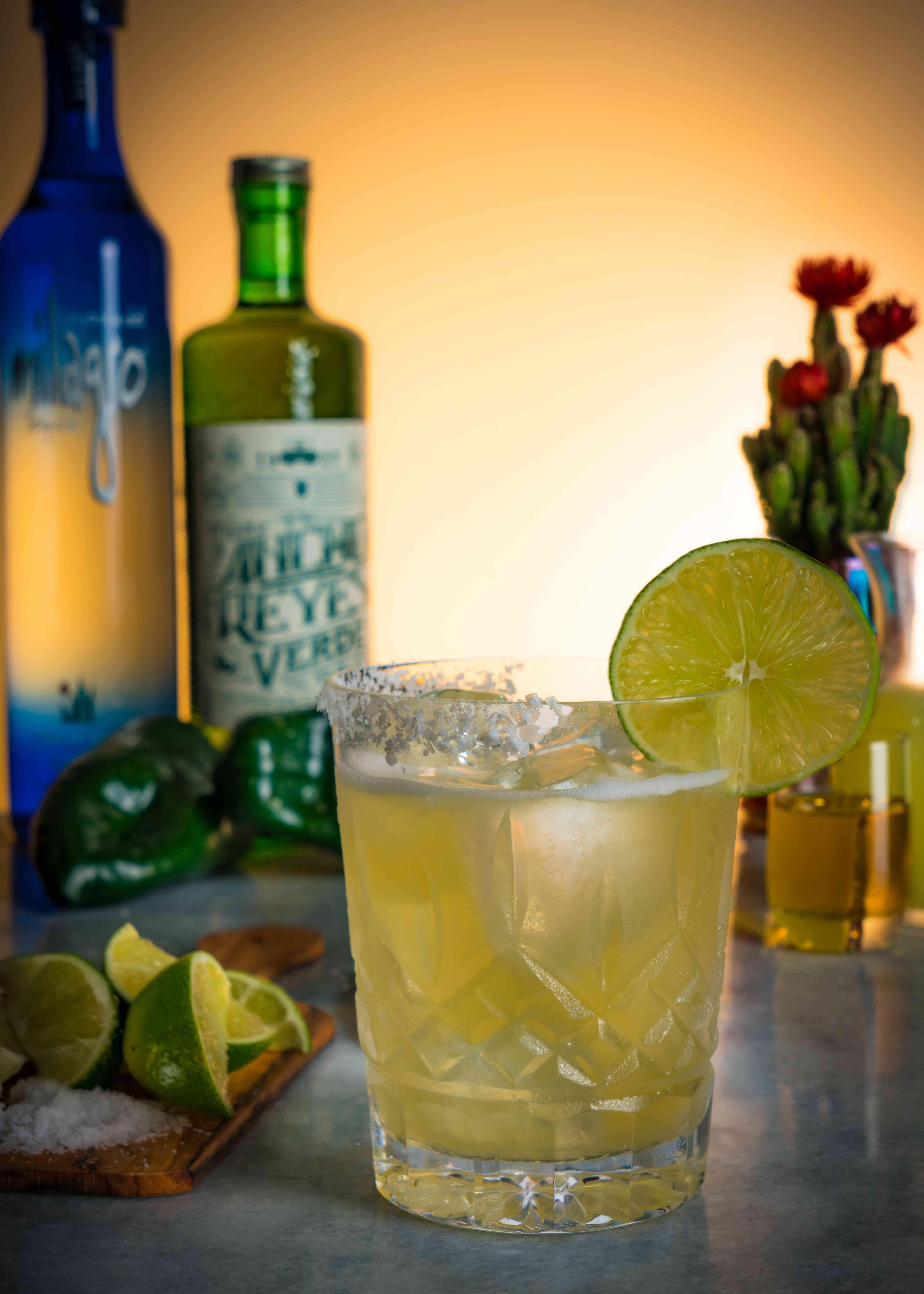 alcohol, signature cocktails, drink, glass, margarita, tequila, mezcal, lime, garnish, citrus