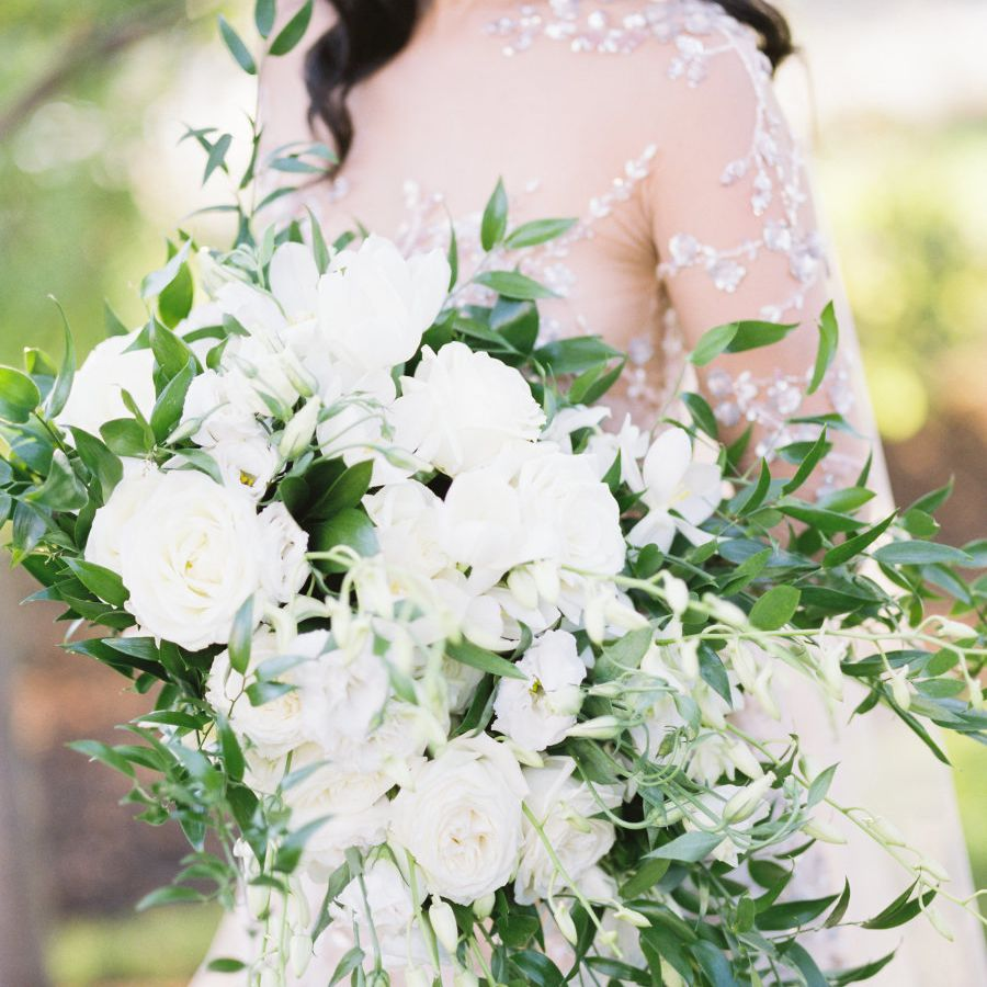 White and green Peony Bouquet
