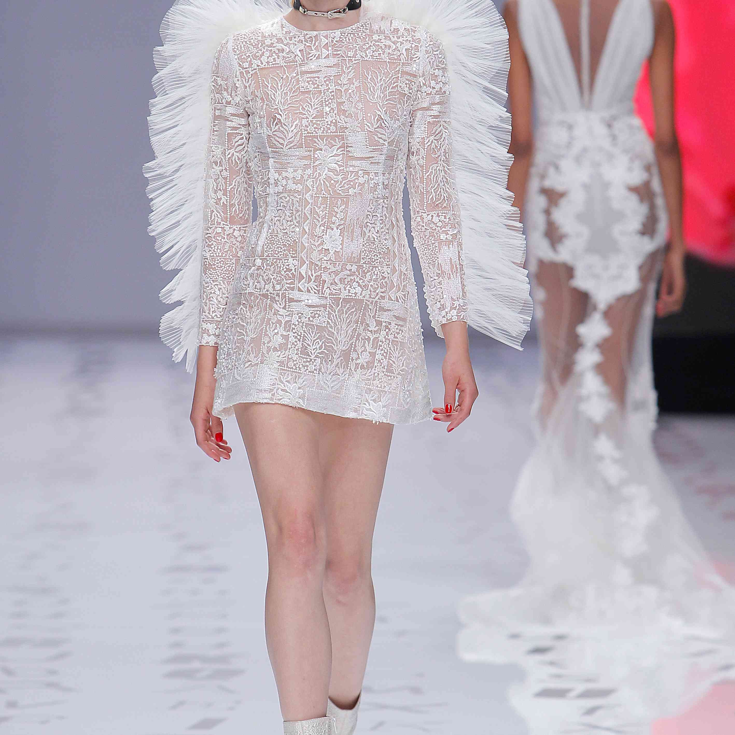 Model in a tulle long-sleeve minidress embroidered with pearls, sequins, and rhinestones with geometric and floral motifs, featuring a pleated tulle main on the shoulders and sleeves