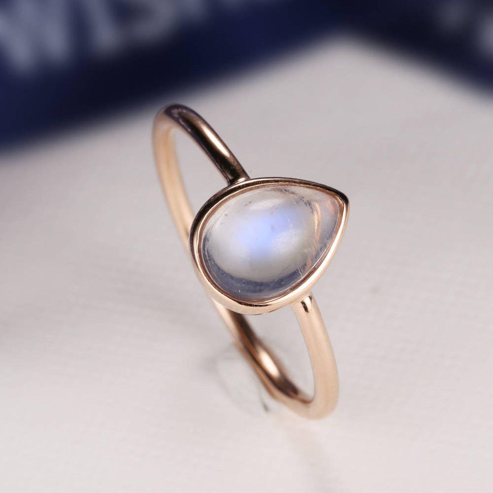 Pear shaped moonstone ring