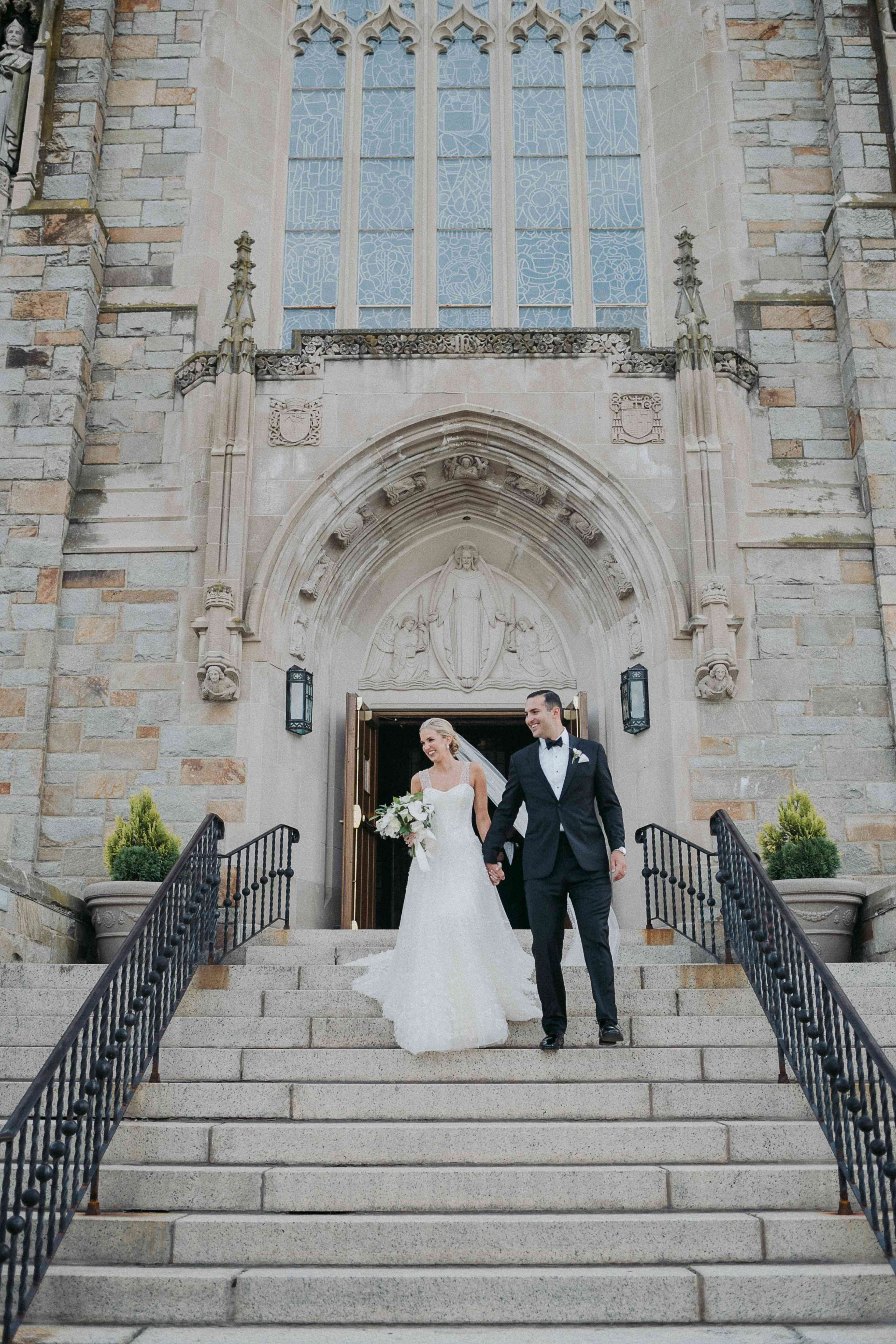 <p>Bride and groom leaving church</p><br><br>