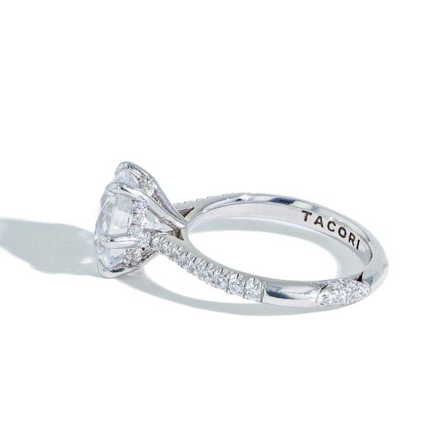side view of hidden halo engagement ring