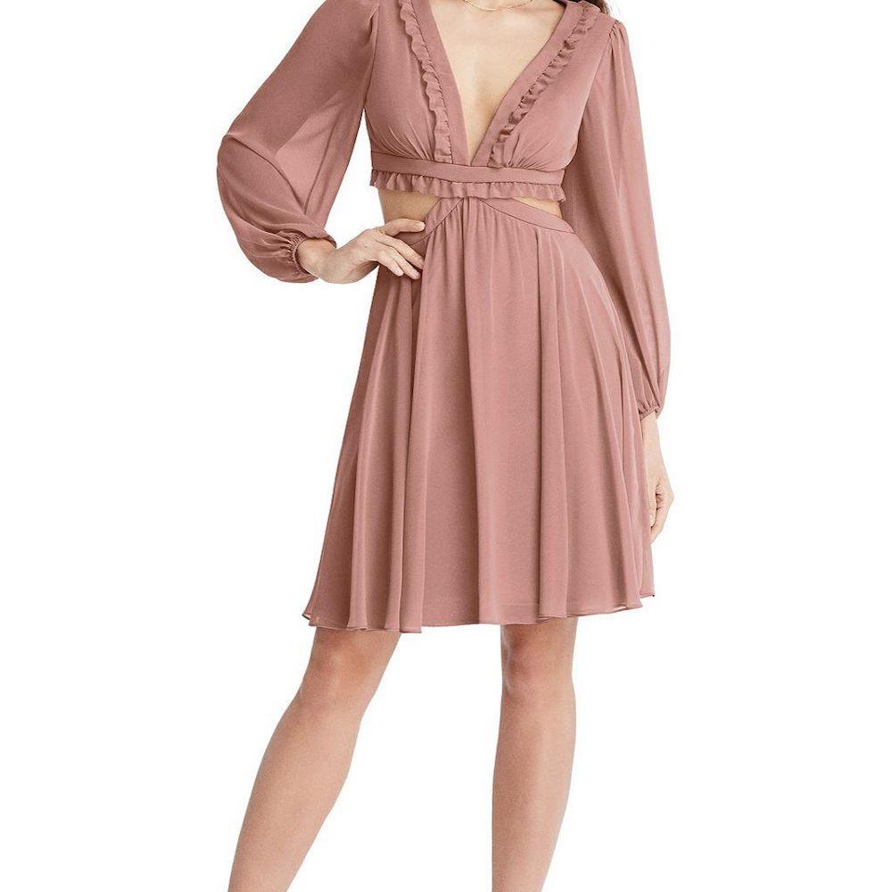 Dessy Bishop Sleeve Cutout Mini Dress
