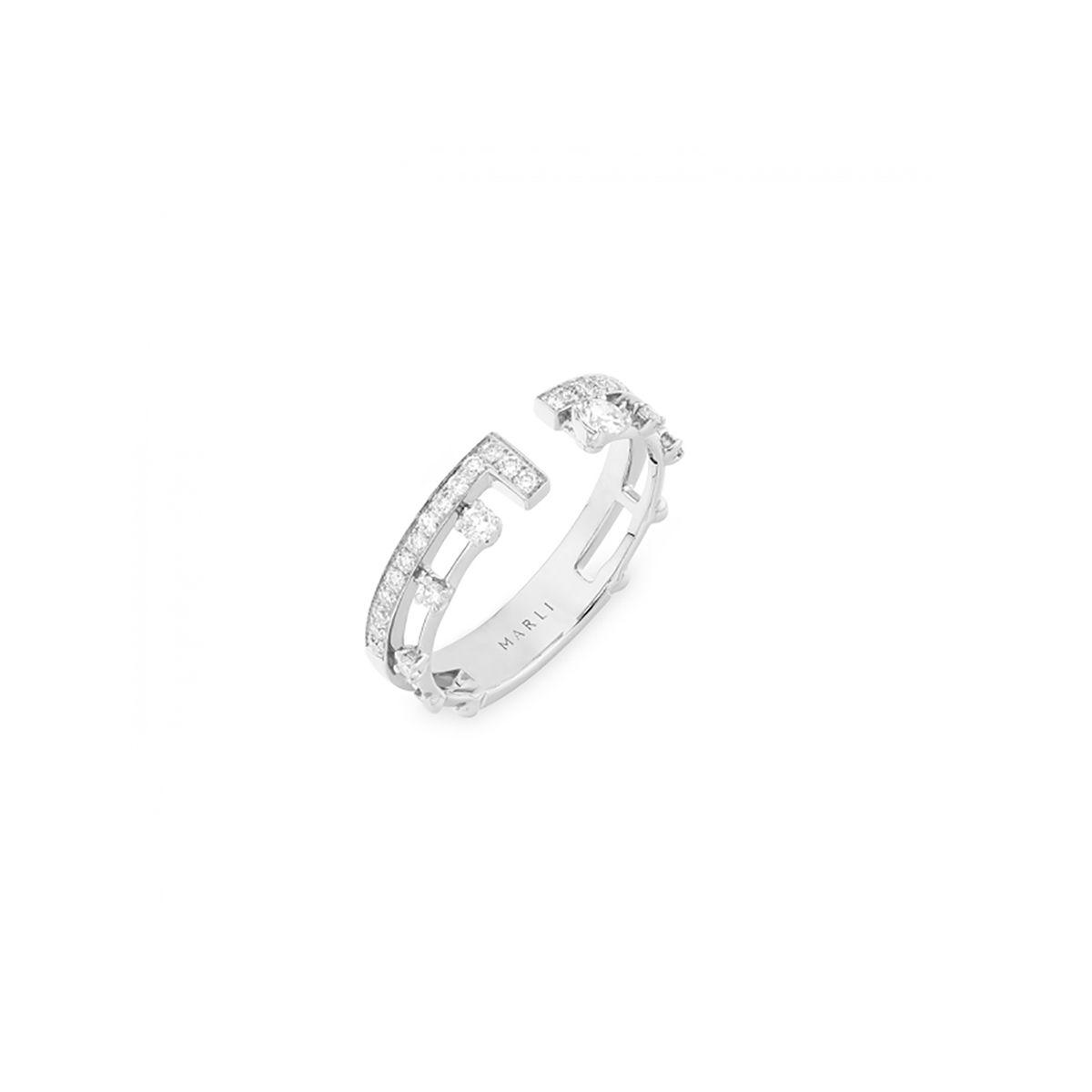Marli New York White Gold and Diamond Asymmetrical Index Ring