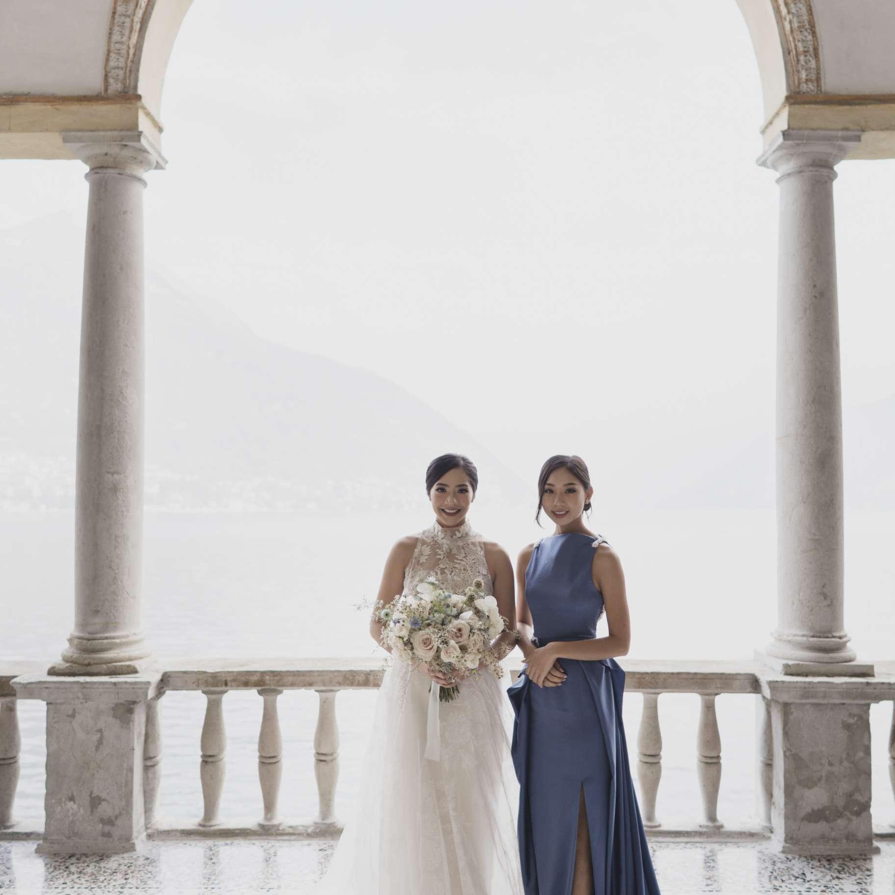 romantic lake como wedding, bride with maid of honor
