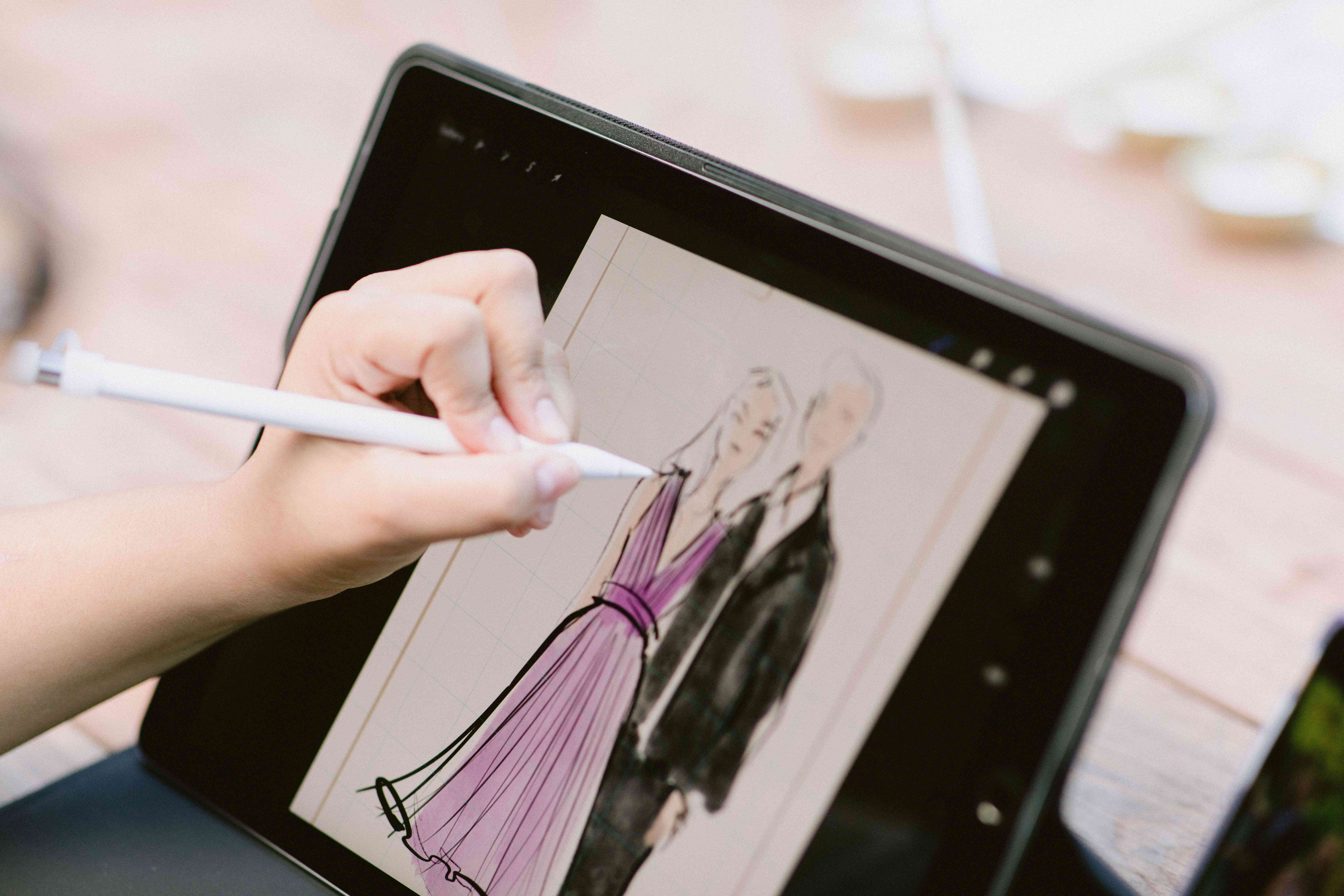 Drawing an illustration on a tablet
